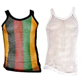 UD Accessories - Camiseta de Tirantes - para Hombre Blanco 2 Pack (1 Rasta Stripes, 1 Plain White) X-Large
