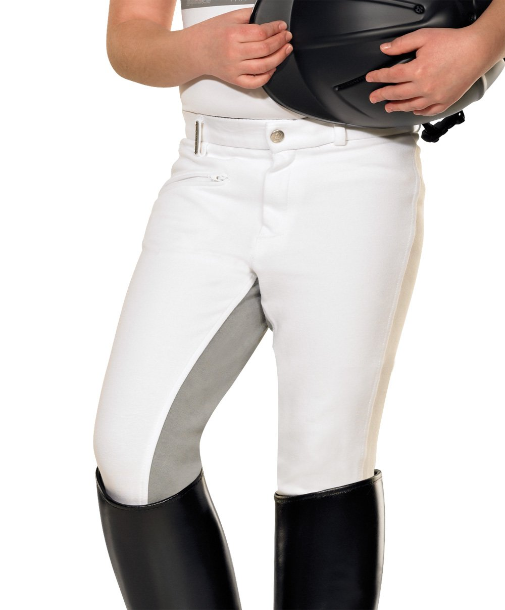 Pfiff Pantaloni da equitazione da bambino con rinforzo grigio, Bianco, 176