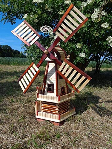 BTV Haus & Garten XL windmühle, windmühlen, mit Ausleger, wetterfest behandelt und kugelgelagert, ohne/mit Solar-Lampen WMH100he-OS 1 m groß Hellbraun braun, hell