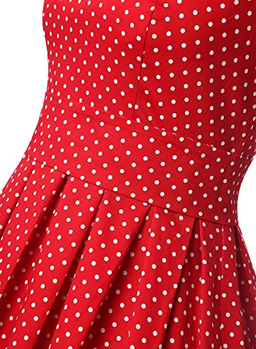 Dressystar Robe à 'Audrey Hepburn' Classique Vintage 1950S Style Noir à pois blanc A
