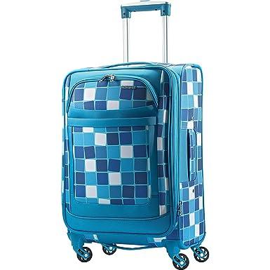 0179b98615f American Tourister Ilite Max Softside Spinner 25, Light Blue Checks ...