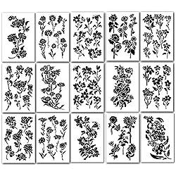 15 plantillas grandes de flores de 23 x 36 cm para pintura de aerógrafo de pared, manualidades, modelo de tatuaje automático