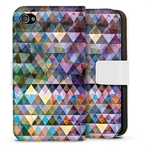 Apple iPhone X Silikon Hülle Case Schutzhülle Muster Farben Dreiecke Sideflip Tasche weiß