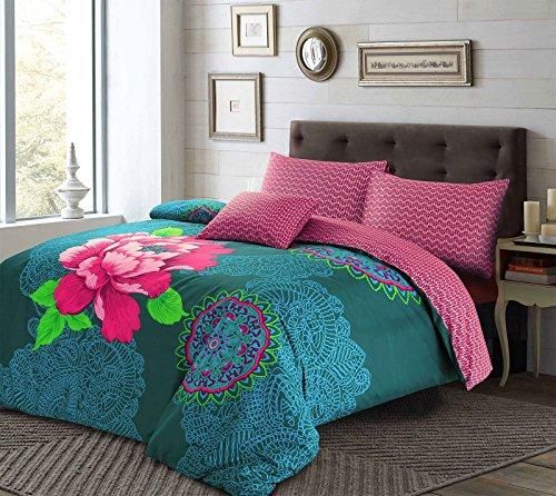 IST Floral Polycotton Bettbezug & Kopfkissen Blaugrün Pflaume Betten Bettwäsche Set, Purple/Teal, Doppelbett -