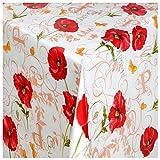 Wachstuch Tischdecke Gartentischdecke mit Fleecerücken Gartentischdecke, Pflegeleicht Schmutzabweisend Abwaschbar Mohn-Blume Weiss Rot 120x 140 cm - Größe wählbar