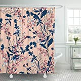 Setyserytu Cortinas de baño/Cortinas de baño, Shower Curtains Landscape Print Floral in The Many Kind of Flowers Tropical Botanical Motifs Scattered Random for Prints with Waterproof Polyester