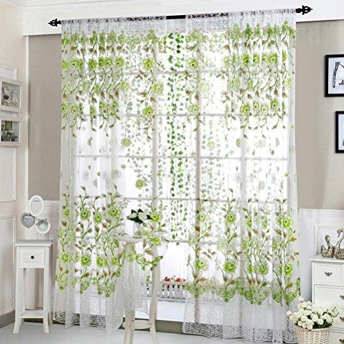 Upxiang Romantische Blume Schiere Fenstervorhang, Tüll Vorhang Schlaufen transparent, Fenster Verdunkelung Ösen Gardine, Voile Voilevorhang-Fein Fenster Dekoration (Grün)