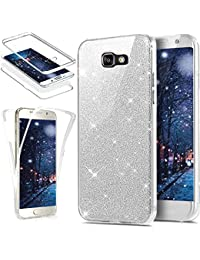 Galaxy A5 2017 Case,ikasus [Full-Body 360 Coverage Protective] Crystal Clear Ultra-Slim Sparkly Shiny Glitter Bling Front Back Full Coverage Soft Clear TPU Silicone Rubber Case Cover for Galaxy A5 2017,Silver