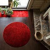 Shaggy-Teppich   Flauschiger Hochflor fürs Wohnzimmer, Schlafzimmer oder Kinderzimmer   einfarbig, schadstoffgeprüft, allergikergeeignet in Farbe: Rot; Größe: 120 cm rund