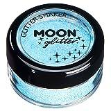 Secoueurs à paillettes pastel par Moon Glitter (Paillette Lune) – 100% de paillettes cosmétique pour le visage, le corps, les ongles, les cheveux et les lèvres - 3g - Bleu clair