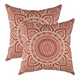 TreeWool®, (2 Stück Dekoratives Kissenbezüg Mandala Design 100% Baumwolle (60 x 60 cm, Rost Braun)