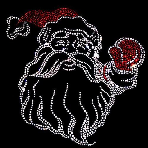 Fun Shirt Weihnachten mit grossem Weihnachtsmann Strass Weihnachtsshirt V-Ausschnitt Schwarz