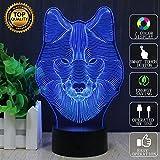 Illusion-Lampe des Wolf-3D Effektes, FZAI 7 Farben, die geführtes Nachtlicht mit Noten-Knopf u. 150cm USB-Kabel für das Kind-Schlafen / Hauptdekoration ändern