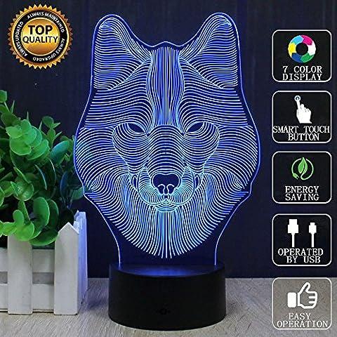 Loup 3D Lampes Illusions Optiques, FZAI Amazing 7 Changing Colors Acrylique Touch Button Table Bureau Night Light avec 150cm Câble USB Décoration de maison