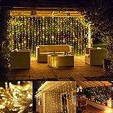 LE Lichterkettenvorhang 306 LEDs, 8 Modi 3m x 3m IP44 wasserfest Sternen LED Lichterketten für Weihnachten, Deko, Party, Weihnachtsbeleuchtung, Hochzeit Warmweiß