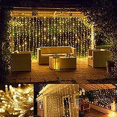 Idea Regalo - LE Luci Cascata per Finestra Balcone 3x3 m 306 LED, Bianco Caldo, Funzione Memoria Lucine Fatate Romantiche per Decorazione Feste Natale
