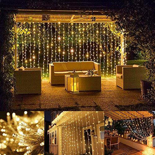 LE Luci Cascata per Finestra Porta 3x3 m 306 LED, 8 Modalità, Funzione di Memoria Lucine fatate romantiche per Decorazione Feste Natale Luce bianca calda 3000K Capodanno San Valentino