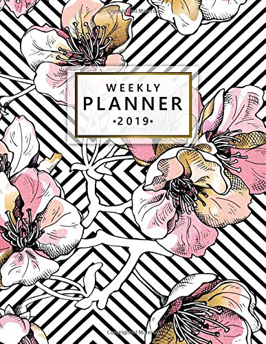 Weekly Planner 2019: Soft pink golden cherry floral planner with weekly views, inspirational quotes, to-do lists, funny holidays and more. A pretty floral print planner for 2019. por Simple Planners