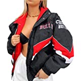 Onsoyours Bomber Jacket Giacca Donna Giacca Sportiva Jackets Vintage Streetwear con Tasca Outwear Cerniera Giacca College Swe