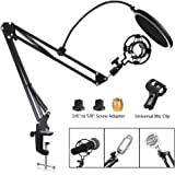 Adjustable Microphone Stand, RINBO Upgrade Mic Arm Kit, with Mic Shock Mount, Universal Mic Clip, Table Mounting Clamp, 3/8'' to 5/8'' Screw Adapter, Sound Shield Guard, for Most of Microphones (1)