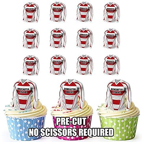 Doncaster Rovers maillots de football prédécoupée comestible pour cupcakes/gâteau Décorations (lot de 12)
