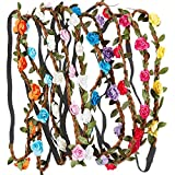 Rovtop 10 Pcs Colorful Rose Flower Headband, Wreath Floral Headbands with Elastic Ribbon for Women Girls Hair Accessories