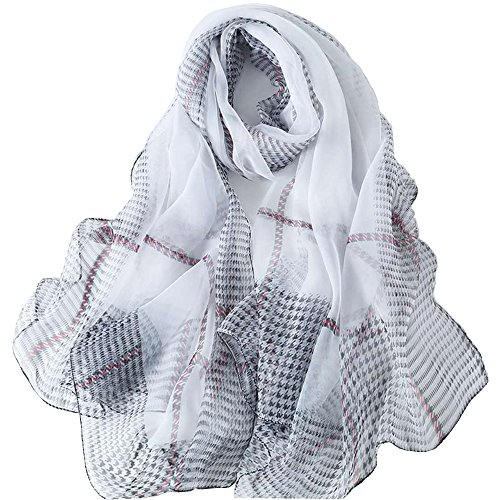 LD Pañuelo Cuello Mujer Seda de Hielo Fular Bufanda Estola Chal Ideal for Playa o Regalo Blanco