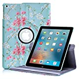 iPad 9.7 Inch (2017) Floral Design Case by 32nd, Faux Leather Folio Style Stand Cover Suitable for Apple iPad 9.7� (released March 2017) - Spring Blue