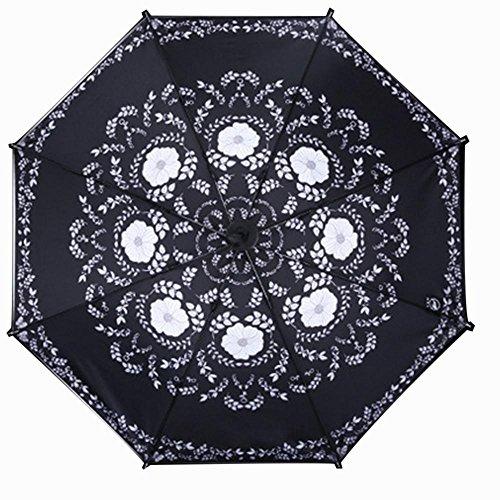 TJ Faltende schwarze Anti-UV Drei Falten Regenschirm , element memory