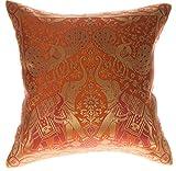 Avarada 40x 40 cm Kissenbezug, indischer Stil, Elefant, Pfau, dekorativer Kissenbezug für Sofa Couch Stuhl Bett, Kissen nicht enthalten, Reißverschluss, Textil, Orange, 16x16