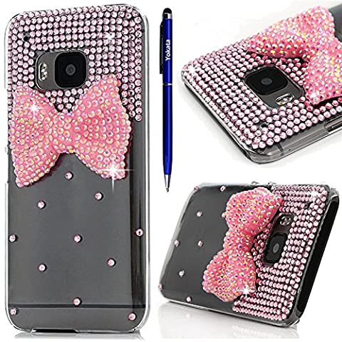 Case for HTC One M9, Yokata Clear 3D Bling Glitter Diamond Rhinestones Pink Bowknot Pattern Protective Case Ultra Thin Transparent Impact Resistant PC Hard Back Cover for HTC One M9 + 1 X Capacitive