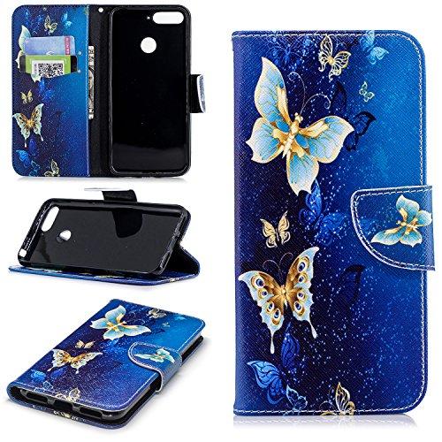 sinogoods Für Huawei Y6 2018 / Huawei Honor 7A Hülle, Premium PU Leder Schutztasche Klappetui Brieftasche Handyhülle, Standfunktion Flip Wallet Case Cover - Goldschmetterling