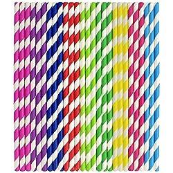 225 pajitas de papel a rayas para decoraciones cariacas de bebidas, fiestas, cumpleaños, bodas, etc. con todo el color del arco iris