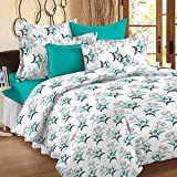 Story@Home 100% Cotton Floral Print Trendy Premium Double Bedsheets with 2 Pillow Covers, Aqua