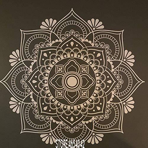 Ami0707 Mandala Wandtattoo Kopfteil Zen Dekor Lotus Blume Mandala Aufkleber Vinyl Schlafzimmer Yoga Aufkleber Vinyl böhmischen Decals57x57cm - Polyester Kopfteil