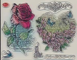 """poinçon en silicone """" Coeur Floral & rose """" 14 x 18 cm"""