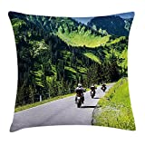 Mountain Decor Throw Pillow Cushion Cover, Bikers Riding on Mountainous Highway in Alpine Mountains Digital Print, Decorative Square Accent Pillow Case,Hunter Green 18X18 inches
