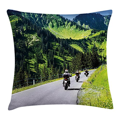 Mountain Decor Throw Pillow Cushion Cover, Bikers Riding on Mountainous Highway in Alpine Mountains Digital Print, Decorative Square Accent Pillow Case,Hunter Green 18X18 - Green-zubehör Hunter