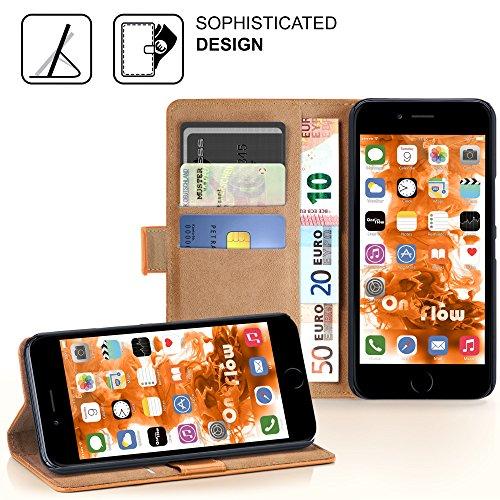 iPhone 4S Hülle Lila mit Karten-Fach [OneFlow 360° Book Klapp-Hülle] Handytasche Kunst-Leder Handyhülle für iPhone 4/4S Case Flip Cover Schutzhülle Tasche CANYON-ORANGE