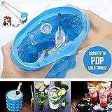 Ice Genie Cube Maker, Eiswürfelbereiter Silikon Eisbehälter BPA-frei Eiswürfelform Eiseimer mit Deckel und Zange FDA Eiswürfelbehälter