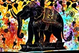 Indian Psychedelic Celestial Elephant Tree Of Life Tapestry ,Good Luck Hand Tie Dye Elephant Tapestry , Hippie Gypsy Wall Hanging , Bhoemain Bed Spread Tapestries , New Age Dorm Tapestry, Bohemain Dorm Decor Elephant Tapestry, Cotton Bedspread Decor Throw Art, Twin 54x86 By Bhagyoday