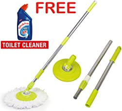 Zoyo Mop Rod Stick Stainless Steel with Plate and Microfiber Mop Stick & 1 Mop Head Mop 360° Rotate S.S Rod Pocha