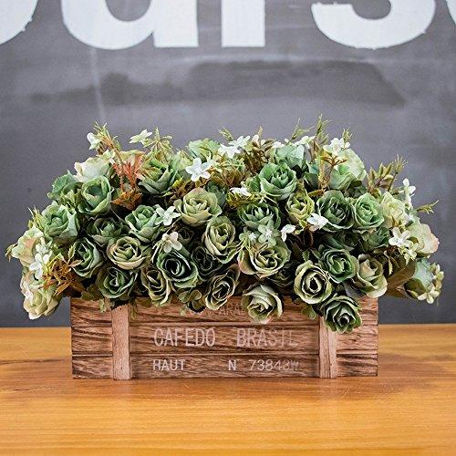 Flinfeays fiori artificiali fiori finti creativi recinzioni in legno regali di natale fai da te festa di nozze cucina oggettistica per la casa vasi di fiori molto vivace green-46
