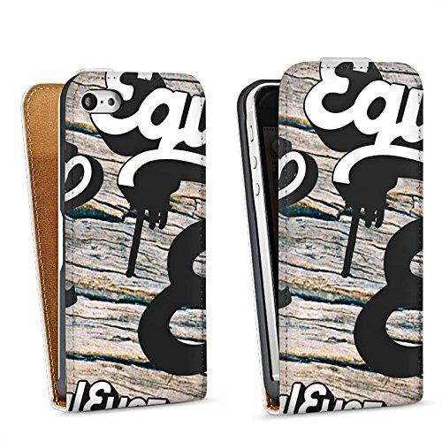 Apple iPhone 5 Housse Étui Silicone Coque Protection Equaleyez Écriture Touche du bois Sac Downflip blanc