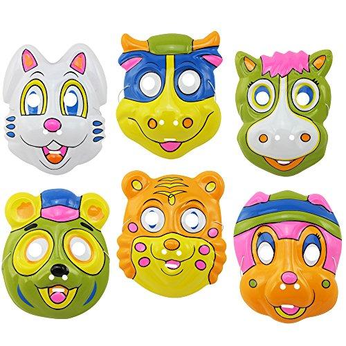 Stück Sexy Kostüm Tiger 3 - com-four® 6X Bunte Tiermasken für Kinder, Verschiedene Motive aus Kunststoff, ideal zu Fasching und Karneval (06 Stück - Tiere Mix2)