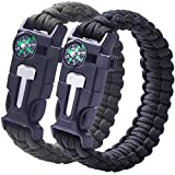 2 PACK Multifunktional Paracord Armband, Sahara Sailor Outdoor Survival Kit Fallschirmseil Schnalle W Kompass Flint Fire Starter Scraper Whistle für Wandern Camping Notfall