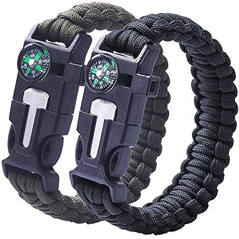 2 PACK Multifunktional Paracord Armband, Sahara Sailor Outdoor Survival Kit Fallschirmseil Schnalle W Kompass Flint Fire Starter Scraper Whistle für Wandern Camping