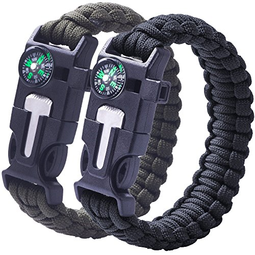 2 PACK Multifunktional Paracord Armband, Sahara Sailor Outdoor Survival Kit Fallschirmseil Schnalle W Kompass Flint Fire Starter Scraper Whistle für Wandern Camping Notfall