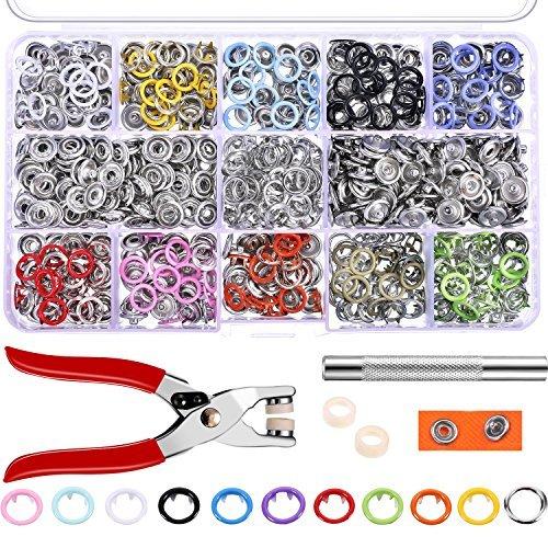 Lvcky 200Sets Druckknöpfe Strampler Kam Snaps Craft Zange Werkzeug Zinken Schnalle Metall Ring Button Druckknöpfe Nähen Craft 9,5mm, 10Farben