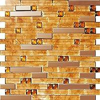 Mosaico de vidrio de acero inoxidable diamante hoja de arce roja pared del modelo Azulejos de mosaico Art Deco acero inoxidable mosaico 300*300mm Cocina backsplash / ducha de pared de la pared de la pared / Hotel pasillo pared de la frontera / piso residencial de piso y aplicaciones de la pared SA047-39 (1 pieza)